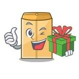 Avec l'annonce d'enveloppe de cadeau dans le cabinet de mascotte illustration stock
