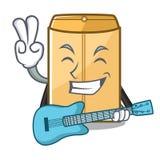 Avec l'annonce d'enveloppe de guitare dans le cabinet de mascotte illustration libre de droits