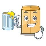 Avec l'annonce d'enveloppe de jus dans le cabinet de mascotte illustration stock