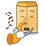 Avec l'annonce d'enveloppe de trompette dans le cabinet de mascotte illustration de vecteur
