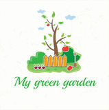 avec l'arbre, les barrières, la pelle, les légumes et l'AP Images stock