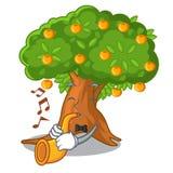 Avec l'arbre orange de bande dessinée de trompette près de la maison illustration stock