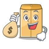 Avec l'enveloppe d'annonce de sac d'argent dans la forme de caract?re illustration stock