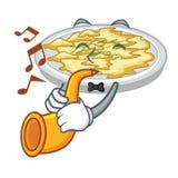 Avec l'oeuf brouillé de trompette dans la cuvette de mascotte illustration de vecteur