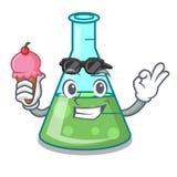 Avec la bande dessinée de caractère de becher de la science de crème glacée  illustration de vecteur