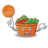 Avec la bande dessinée de caractère de corbeille de fruits de basket-ball Images stock