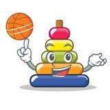 Avec la bande dessinée de caractère d'anneau de pyramide de basket-ball Photos stock