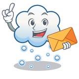 Avec la bande dessinée de caractère de nuage de neige d'enveloppe Photographie stock libre de droits