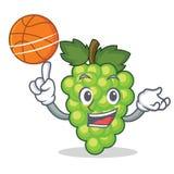 Avec la bande dessinée de caractère de raisins de vert de basket-ball Photographie stock