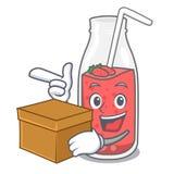 Avec la bande dessinée de caractère de smoothie de fraise de boîte Illustration de Vecteur