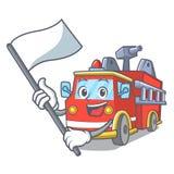 Avec la bande dessinée de mascotte de camion de pompiers de drapeau illustration de vecteur