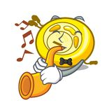 Avec la bande dessinée de mascotte de lecteur de CD de trompette illustration de vecteur