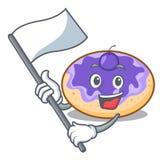Avec la bande dessinée de mascotte de myrtille de beignet de drapeau illustration libre de droits