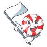 Avec la bande dessinée de mascotte de sucrerie de menthe poivrée de drapeau illustration libre de droits