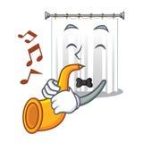 Avec la bande dessinée de trompette les rideaux en douche sont très jolis illustration stock
