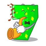 Avec la bande dessinée de trompette numéro sept sur le mur en pierre illustration stock