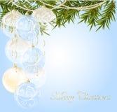 Or, avec la bille transparente bleue de Noël de fin Image stock