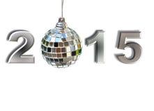 2015 avec la boule de disco Photographie stock libre de droits