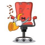 Avec la chaise de bureau de bande dessinée de trompette dans le salon moderne illustration stock