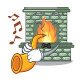Avec la cheminée en pierre de bande dessinée de trompette avec la flamme illustration de vecteur