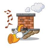 Avec la cheminée miniature de brique de bande dessinée de trompette au-dessus de la table illustration de vecteur