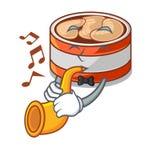 Avec la conserve de thon de trompette dans la forme de bande dessinée illustration de vecteur