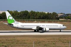 737 avec la grenouille peinte sur l'aileron Images libres de droits