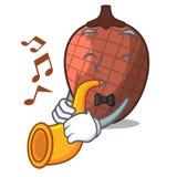 Avec la mascotte de trompette la bande dessinée de la paume de moriche porte des fruits illustration libre de droits