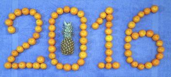 2016 avec la nouvelle année d'ananas et de mandarine Photographie stock libre de droits