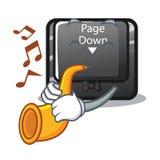 Avec la page de bouton de trompette formez vers le bas la mascotte illustration de vecteur