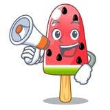 Avec la pastèque d'été de mégaphone la glace formée bande dessinée illustration stock
