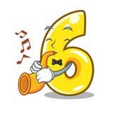 Avec la porte du numéro six de trompette connectez-vous la bande dessinée illustration libre de droits