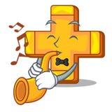 Avec la rétro bande dessinée de symbole d'addition de plus de trompette illustration libre de droits