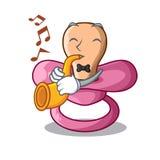 Avec la tétine de bande dessinée de trompette pour un bébé nouveau-né illustration de vecteur