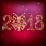 2018 avec la tête de chien Photographie stock