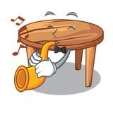 Avec la table de salle à manger en bois de bande dessinée de trompette dans la cuisine illustration de vecteur