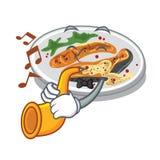 Avec la trompette a grillé des saumons a servi sur le panneau de bande dessinée illustration stock