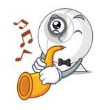 Avec la trompette le webcam est isolé avec les bandes dessinées illustration stock