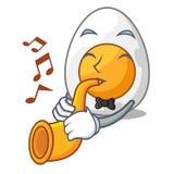Avec la trompette oeuf à la coque épluché sur la bande dessinée de mascotte illustration stock