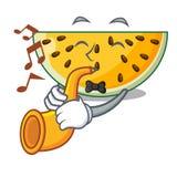 Avec la trompette par morceau d'une bande dessinée jaune de pastèque illustration libre de droits