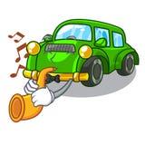 Avec la voiture classique de trompette dans la mascotte de forme illustration de vecteur