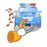 Avec la voiture de police miniature de bande dessinée de trompette sur la table illustration de vecteur