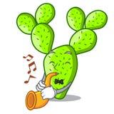 Avec le beau cactus d'opuntia de trompette dans le jardin illustration libre de droits