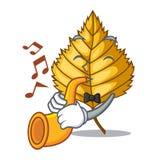 Avec le bouleau de trompette les feuilles ont répandu les bâtons de bande dessinée illustration stock