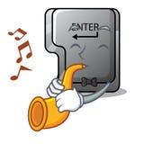 Avec le bouton de trompette entrez d'isolement dans la bande dessinée illustration de vecteur