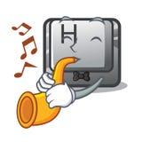 Avec le bouton de trompette H a isolé avec la mascotte illustration de vecteur
