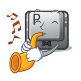 Avec le bouton de trompette P a isolé avec le caractère illustration libre de droits