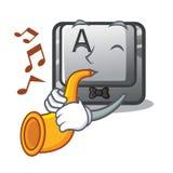 Avec le bouton A de trompette sur un komputer de caractère illustration libre de droits