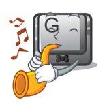 Avec le bouton G de trompette dans la forme de caractère illustration stock