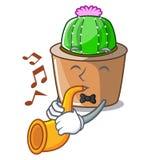Avec le cactus d'étoile de bande dessinée de trompette dans le pot de fleur illustration stock